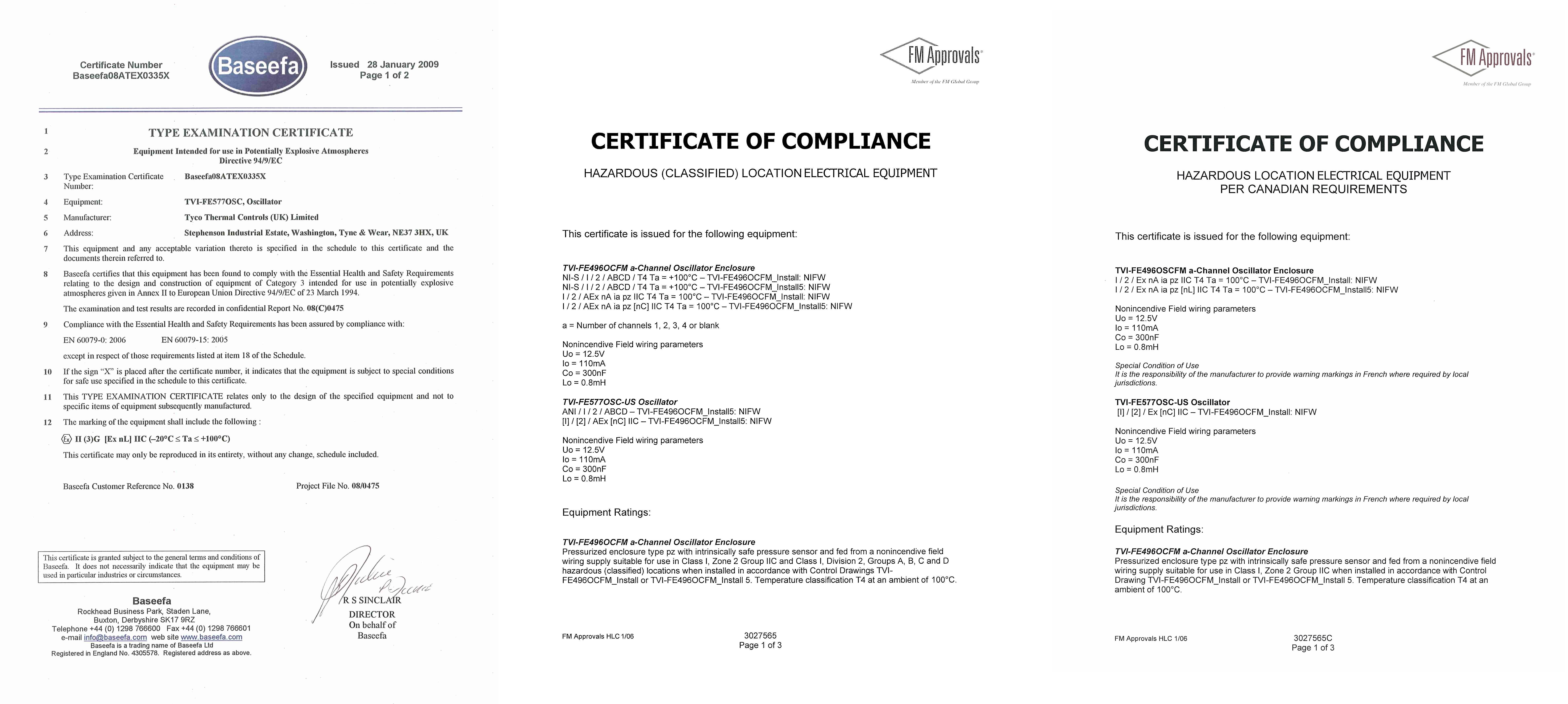 ATEX and FM Hazardous Area Approval Certificates